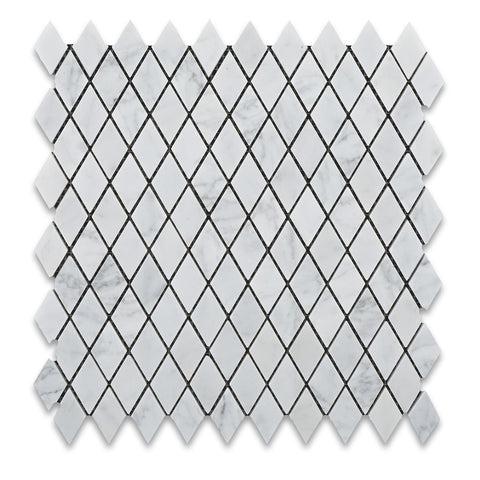 "Carrara White Marble Polished 1"" Diamond Mosaic Tile - American Tile Depot - Commercial and Residential (Interior & Exterior), Indoor, Outdoor, Shower, Backsplash, Bathroom, Kitchen, Deck & Patio, Decorative, Floor, Wall, Ceiling, Powder Room - 1"
