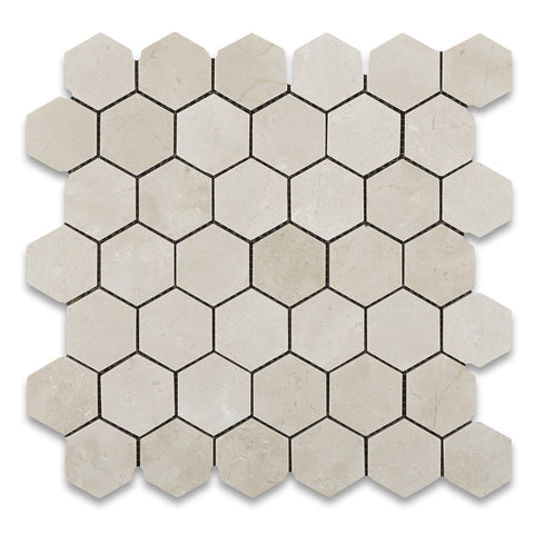 "Crema Marfil Marble Honed 2"" Hexagon Mosaic Tile - American Tile Depot - Commercial and Residential (Interior & Exterior), Indoor, Outdoor, Shower, Backsplash, Bathroom, Kitchen, Deck & Patio, Decorative, Floor, Wall, Ceiling, Powder Room - 1"