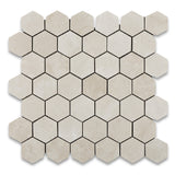 "Crema Marfil Marble Polished 2"" Hexagon Mosaic Tile - American Tile Depot - Commercial and Residential (Interior & Exterior), Indoor, Outdoor, Shower, Backsplash, Bathroom, Kitchen, Deck & Patio, Decorative, Floor, Wall, Ceiling, Powder Room - 1"