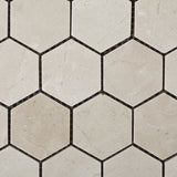 "Crema Marfil Marble Polished 2"" Hexagon Mosaic Tile - American Tile Depot - Commercial and Residential (Interior & Exterior), Indoor, Outdoor, Shower, Backsplash, Bathroom, Kitchen, Deck & Patio, Decorative, Floor, Wall, Ceiling, Powder Room - 2"
