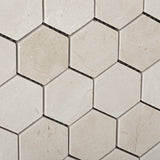 "Crema Marfil Marble Polished 2"" Hexagon Mosaic Tile - American Tile Depot - Commercial and Residential (Interior & Exterior), Indoor, Outdoor, Shower, Backsplash, Bathroom, Kitchen, Deck & Patio, Decorative, Floor, Wall, Ceiling, Powder Room - 3"