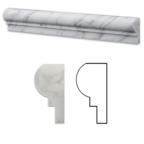 Carrara White Marble Polished OG-1 Chair Rail Molding Trim - American Tile Depot - Commercial and Residential (Interior & Exterior), Indoor, Outdoor, Shower, Backsplash, Bathroom, Kitchen, Deck & Patio, Decorative, Floor, Wall, Ceiling, Powder Room - 1