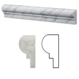 Carrara White Marble Honed OG-1 Chair Rail Molding Trim - American Tile Depot - Commercial and Residential (Interior & Exterior), Indoor, Outdoor, Shower, Backsplash, Bathroom, Kitchen, Deck & Patio, Decorative, Floor, Wall, Ceiling, Powder Room - 1