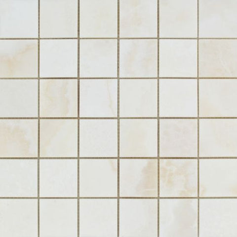2 X 2 Premium White Onyx CROSS-CUT Polished Mosaic Tile - American Tile Depot - Shower, Backsplash, Bathroom, Kitchen, Deck & Patio, Decorative, Floor, Wall, Ceiling, Powder Room, Indoor, Outdoor, Commercial, Residential, Interior, Exterior