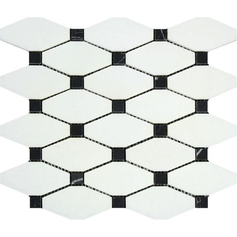 Thassos White Marble Honed Octave Pattern Mosaic Tile w/ Black Dots