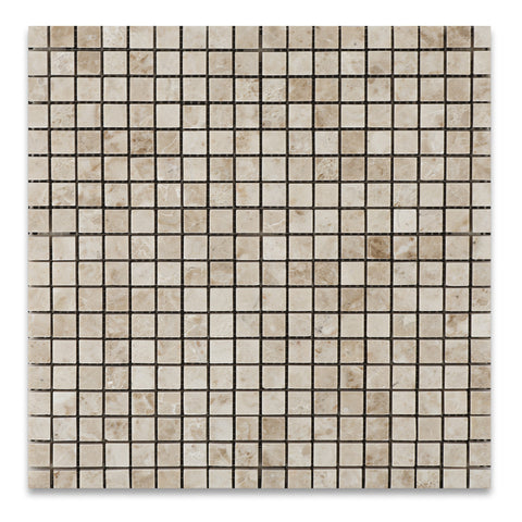 5/8 X 5/8 Cappuccino Marble Polished Mosaic Tile - American Tile Depot - Commercial and Residential (Interior & Exterior), Indoor, Outdoor, Shower, Backsplash, Bathroom, Kitchen, Deck & Patio, Decorative, Floor, Wall, Ceiling, Powder Room - 1