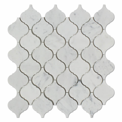 Carrara White Marble Polished Lantern Arabesque Mosaic Tile - American Tile Depot - Commercial and Residential (Interior & Exterior), Indoor, Outdoor, Shower, Backsplash, Bathroom, Kitchen, Deck & Patio, Decorative, Floor, Wall, Ceiling, Powder Room - 1