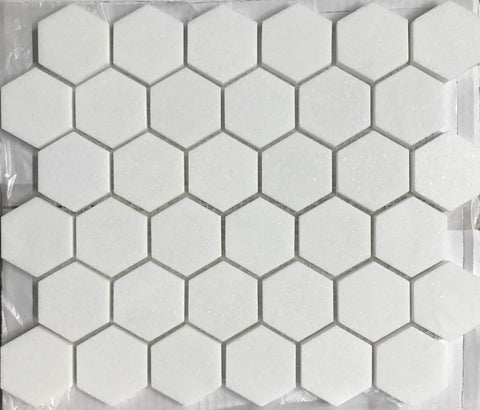 "Thassos White Marble Honed 2"" Hexagon Mosaic Tile"