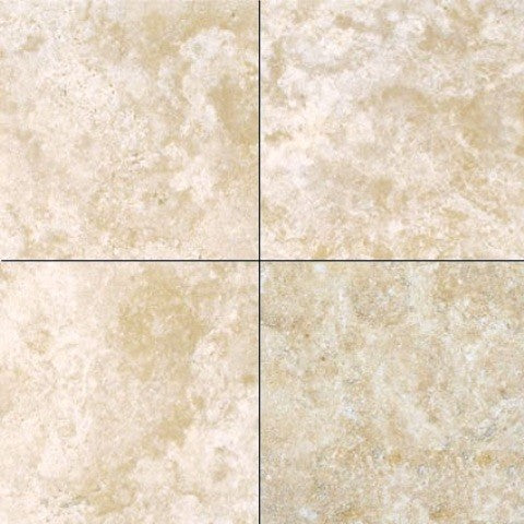 6 X 6 Durango Cream Travertine Filled & Honed Field Tile