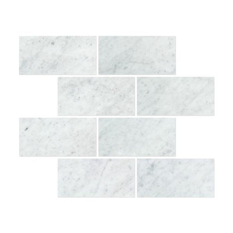12 X 24 Carrara White Marble Polished Field Tile - American Tile Depot - Shower, Backsplash, Bathroom, Kitchen, Deck & Patio, Decorative, Floor, Wall, Ceiling, Powder Room, Indoor, Outdoor, Commercial, Residential, Interior, Exterior
