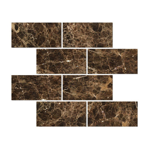 12 X 24 Emperador Dark Marble Polished Field Tile - American Tile Depot - Shower, Backsplash, Bathroom, Kitchen, Deck & Patio, Decorative, Floor, Wall, Ceiling, Powder Room, Indoor, Outdoor, Commercial, Residential, Interior, Exterior