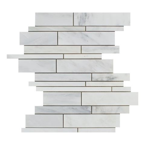 Oriental White / Asian Statuary Marble Polished Random Strip Mosaic Tile - American Tile Depot - Commercial and Residential (Interior & Exterior), Indoor, Outdoor, Shower, Backsplash, Bathroom, Kitchen, Deck & Patio, Decorative, Floor, Wall, Ceiling, Powder Room