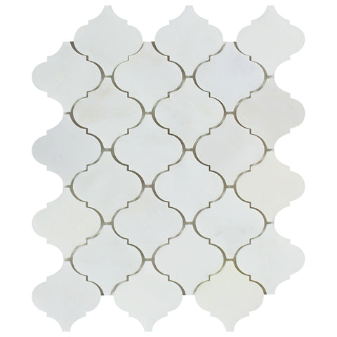 Oriental White / Asian Statuary Marble Honed Lantern Arabesque Mosaic Tile - American Tile Depot - Commercial and Residential (Interior & Exterior), Indoor, Outdoor, Shower, Backsplash, Bathroom, Kitchen, Deck & Patio, Decorative, Floor, Wall, Ceiling, Powder Room