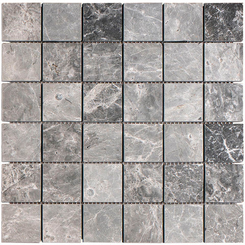 2 X 2 Tundra Gray (Atlantic Gray) Marble Honed Mosaic Tile