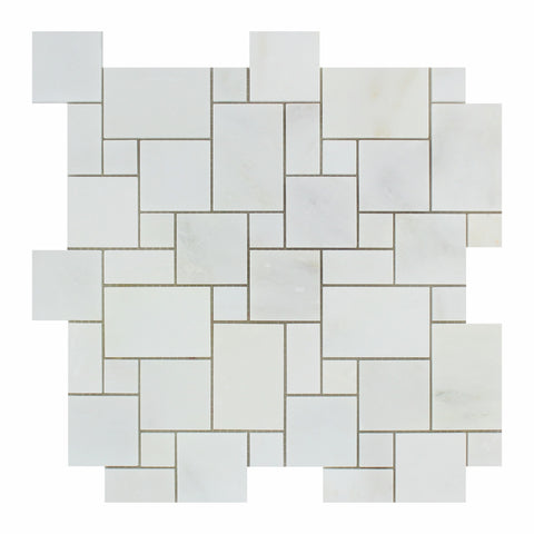 Oriental White / Asian Statuary Marble Polished Mini Versailles Mosaic Tile - American Tile Depot - Commercial and Residential (Interior & Exterior), Indoor, Outdoor, Shower, Backsplash, Bathroom, Kitchen, Deck & Patio, Decorative, Floor, Wall, Ceiling, Powder Room