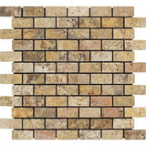 1 X 2 Scabos Travertine Tumbled Brick Mosaic Tile - American Tile Depot - Shower, Backsplash, Bathroom, Kitchen, Deck & Patio, Decorative, Floor, Wall, Ceiling, Powder Room, Indoor, Outdoor, Commercial, Residential, Interior, Exterior