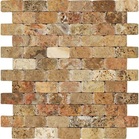 1 X 2 Scabos Travertine Tumbled CNC Arched 3-D Mosaic Tile - American Tile Depot - Shower, Backsplash, Bathroom, Kitchen, Deck & Patio, Decorative, Floor, Wall, Ceiling, Powder Room, Indoor, Outdoor, Commercial, Residential, Interior, Exterior