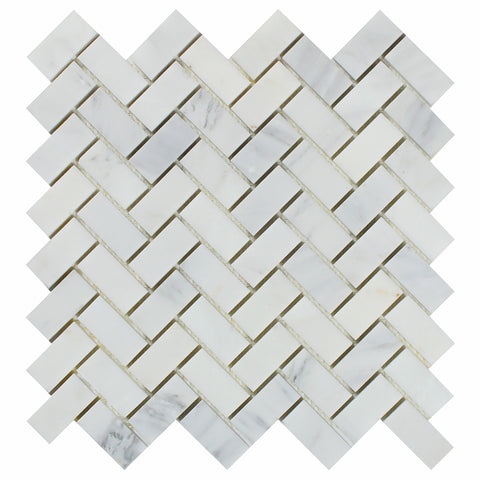 Oriental White / Asian Statuary Marble Polished 1 x 2 Herringbone Mosaic Tile - American Tile Depot - Commercial and Residential (Interior & Exterior), Indoor, Outdoor, Shower, Backsplash, Bathroom, Kitchen, Deck & Patio, Decorative, Floor, Wall, Ceiling, Powder Room