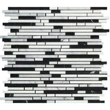 Carrara White Marble Polished Tricolor Bamboo Sticks Mosaic (Carrara + Thassos + Black )