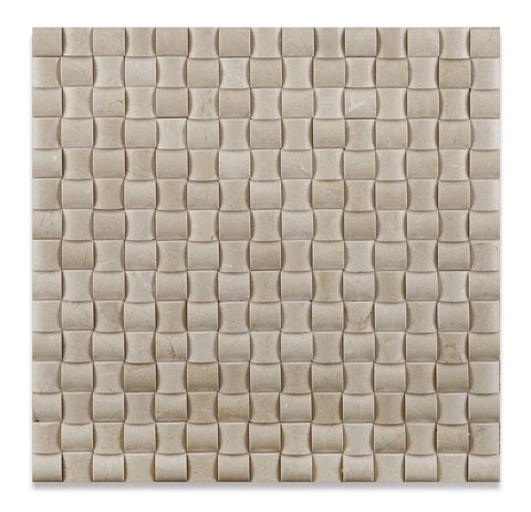 Crema Marfil Marble Honed 3D Small Bread Mosaic Tile - American Tile Depot - Commercial and Residential (Interior & Exterior), Indoor, Outdoor, Shower, Backsplash, Bathroom, Kitchen, Deck & Patio, Decorative, Floor, Wall, Ceiling, Powder Room - 1