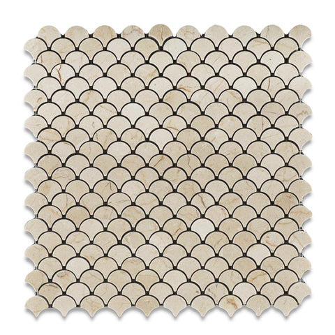 Crema Marfil Marble Honed Fan Mosaic Tile - American Tile Depot - Commercial and Residential (Interior & Exterior), Indoor, Outdoor, Shower, Backsplash, Bathroom, Kitchen, Deck & Patio, Decorative, Floor, Wall, Ceiling, Powder Room - 1