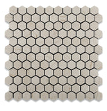 "Crema Marfil Marble Polished 1"" Mini Hexagon Mosaic Tile - American Tile Depot - Commercial and Residential (Interior & Exterior), Indoor, Outdoor, Shower, Backsplash, Bathroom, Kitchen, Deck & Patio, Decorative, Floor, Wall, Ceiling, Powder Room - 1"