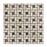 Crema Marfil Marble Honed Pinwheel Mosaic Tile w/ Emperador Dark Dots - American Tile Depot - Commercial and Residential (Interior & Exterior), Indoor, Outdoor, Shower, Backsplash, Bathroom, Kitchen, Deck & Patio, Decorative, Floor, Wall, Ceiling, Powder Room - 1