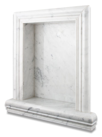 Carrara White Marble Hand-Made Custom Shampoo Niche / Shelf - LARGE - Honed - American Tile Depot - Commercial and Residential (Interior & Exterior), Indoor, Outdoor, Shower, Backsplash, Bathroom, Kitchen, Deck & Patio, Decorative, Floor, Wall, Ceiling, Powder Room - 1