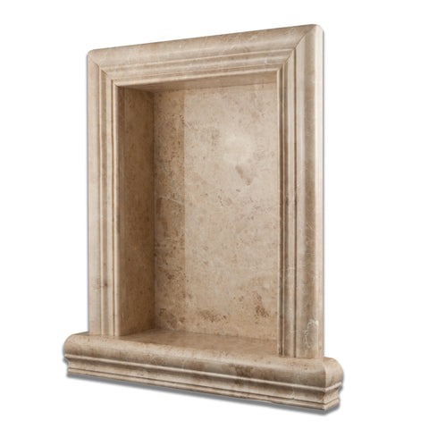Cappuccino Marble Hand-Made Custom Shampoo Niche / Shelf - LARGE - Polished - American Tile Depot - Commercial and Residential (Interior & Exterior), Indoor, Outdoor, Shower, Backsplash, Bathroom, Kitchen, Deck & Patio, Decorative, Floor, Wall, Ceiling, Powder Room - 1
