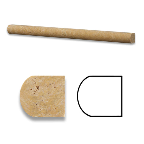Gold / Yellow Travertine Honed 3/4 X 12 Bullnose Liner - American Tile Depot - Commercial and Residential (Interior & Exterior), Indoor, Outdoor, Shower, Backsplash, Bathroom, Kitchen, Deck & Patio, Decorative, Floor, Wall, Ceiling, Powder Room - 1