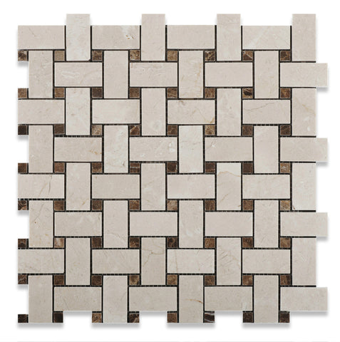 Crema Marfil Marble Polished Basketweave Mosaic Tile w/ Emperador Dark Dots - American Tile Depot - Commercial and Residential (Interior & Exterior), Indoor, Outdoor, Shower, Backsplash, Bathroom, Kitchen, Deck & Patio, Decorative, Floor, Wall, Ceiling, Powder Room - 1