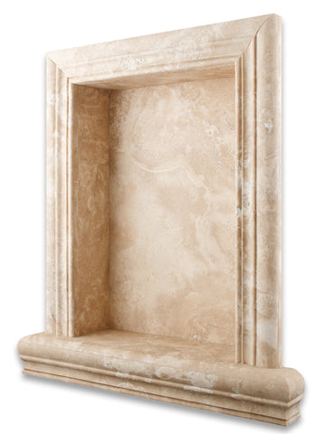 Durango Cream Travertine Hand-Made Custom Shampoo Niche / Shelf - LARGE - Honed - American Tile Depot - Commercial and Residential (Interior & Exterior), Indoor, Outdoor, Shower, Backsplash, Bathroom, Kitchen, Deck & Patio, Decorative, Floor, Wall, Ceiling, Powder Room - 1