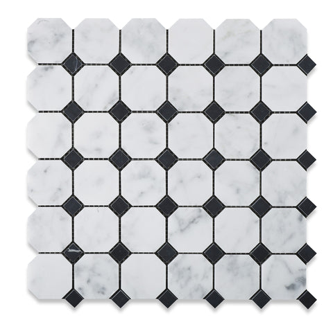 Carrara White Marble Polished Octagon Mosaic Tile w/ Black Dots - American Tile Depot - Commercial and Residential (Interior & Exterior), Indoor, Outdoor, Shower, Backsplash, Bathroom, Kitchen, Deck & Patio, Decorative, Floor, Wall, Ceiling, Powder Room - 1