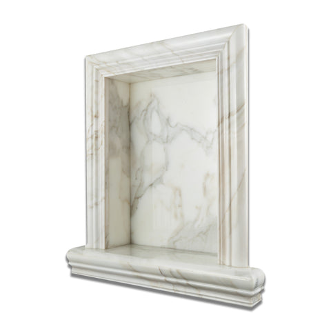 Calacatta Gold Marble Hand-Made Custom Shampoo Niche / Shelf - LARGE - Honed - American Tile Depot - Commercial and Residential (Interior & Exterior), Indoor, Outdoor, Shower, Backsplash, Bathroom, Kitchen, Deck & Patio, Decorative, Floor, Wall, Ceiling, Powder Room - 1