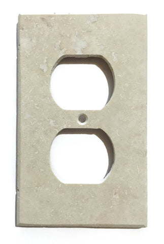 Ivory Travertine Single Duplex Switch Wall Plate / Switch Plate / Cover - Honed - American Tile Depot - Commercial and Residential (Interior & Exterior), Indoor, Outdoor, Shower, Backsplash, Bathroom, Kitchen, Deck & Patio, Decorative, Floor, Wall, Ceiling, Powder Room - 1