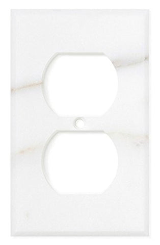 Italian Calacatta Gold Marble Single Duplex Switch Wall Plate / Switch Plate / Cover - Polished - American Tile Depot - Commercial and Residential (Interior & Exterior), Indoor, Outdoor, Shower, Backsplash, Bathroom, Kitchen, Deck & Patio, Decorative, Floor, Wall, Ceiling, Powder Room - 1