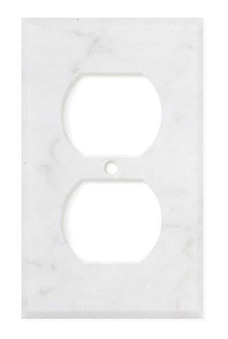 Italian Carrara White Marble Single Duplex Switch Wall Plate / Switch Plate / Cover - Honed