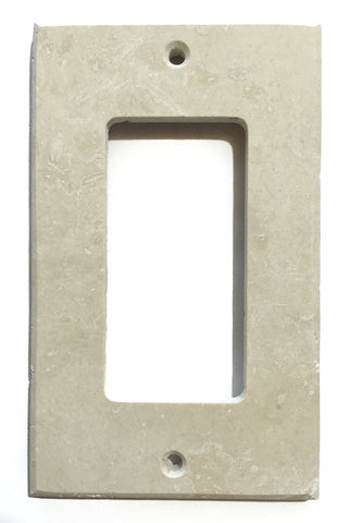 Ivory Travertine Single Rocker Switch Wall Plate / Switch Plate / Cover - Honed - American Tile Depot - Commercial and Residential (Interior & Exterior), Indoor, Outdoor, Shower, Backsplash, Bathroom, Kitchen, Deck & Patio, Decorative, Floor, Wall, Ceiling, Powder Room - 1