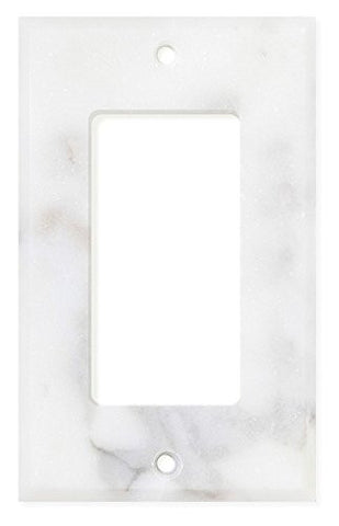 Italian Calacatta Gold Marble Single Rocker Switch Wall Plate / Switch Plate / Cover - Polished - American Tile Depot - Commercial and Residential (Interior & Exterior), Indoor, Outdoor, Shower, Backsplash, Bathroom, Kitchen, Deck & Patio, Decorative, Floor, Wall, Ceiling, Powder Room - 1