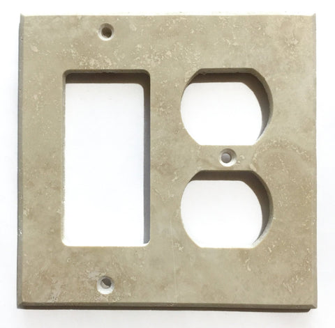 Ivory Travertine Rocker Duplex Switch Wall Plate / Switch Plate / Cover - Honed - American Tile Depot - Commercial and Residential (Interior & Exterior), Indoor, Outdoor, Shower, Backsplash, Bathroom, Kitchen, Deck & Patio, Decorative, Floor, Wall, Ceiling, Powder Room - 1