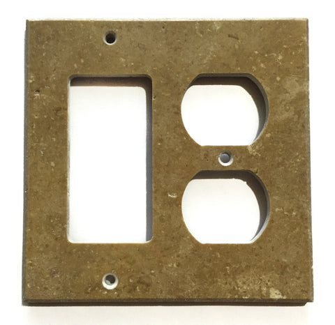 Noce Travertine Rocker Duplex Switch Wall Plate / Switch Plate / Cover - Honed - American Tile Depot - Commercial and Residential (Interior & Exterior), Indoor, Outdoor, Shower, Backsplash, Bathroom, Kitchen, Deck & Patio, Decorative, Floor, Wall, Ceiling, Powder Room - 1