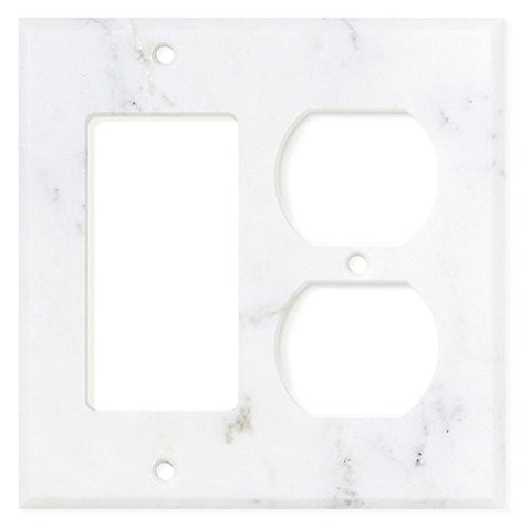 Italian Calacatta Gold Marble Rocker Duplex Switch Wall Plate / Switch Plate / Cover - Honed - American Tile Depot - Commercial and Residential (Interior & Exterior), Indoor, Outdoor, Shower, Backsplash, Bathroom, Kitchen, Deck & Patio, Decorative, Floor, Wall, Ceiling, Powder Room - 1