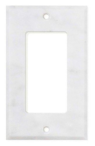 Italian Carrara White Marble Single Rocker Switch Wall Plate / Switch Plate / Cover - Honed