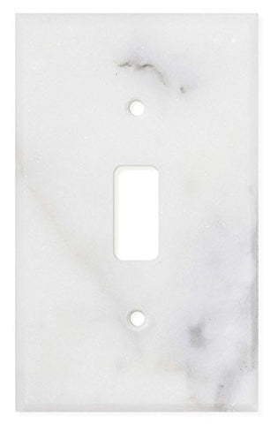 Italian Calacatta Gold Marble Single Toggle Switch Wall Plate / Switch Plate / Cover - Polished - American Tile Depot - Commercial and Residential (Interior & Exterior), Indoor, Outdoor, Shower, Backsplash, Bathroom, Kitchen, Deck & Patio, Decorative, Floor, Wall, Ceiling, Powder Room - 1