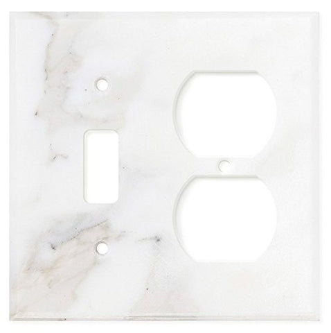 Italian Calacatta Gold Marble Toggle Duplex Switch Wall Plate / Switch Plate / Cover - Polished - American Tile Depot - Commercial and Residential (Interior & Exterior), Indoor, Outdoor, Shower, Backsplash, Bathroom, Kitchen, Deck & Patio, Decorative, Floor, Wall, Ceiling, Powder Room - 1