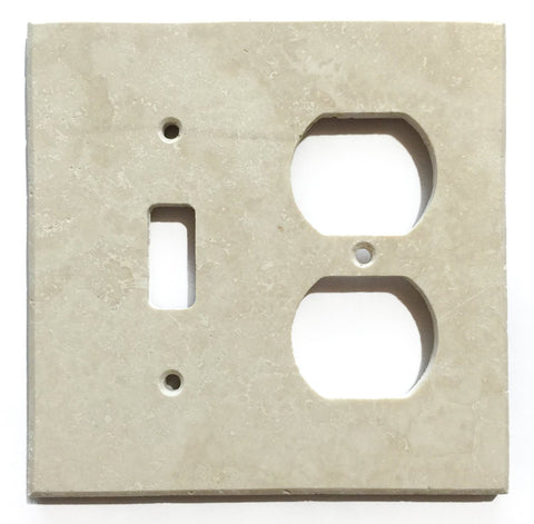 Ivory Travertine Toggle Duplex Switch Wall Plate / Switch Plate / Cover - Honed - American Tile Depot - Commercial and Residential (Interior & Exterior), Indoor, Outdoor, Shower, Backsplash, Bathroom, Kitchen, Deck & Patio, Decorative, Floor, Wall, Ceiling, Powder Room - 1