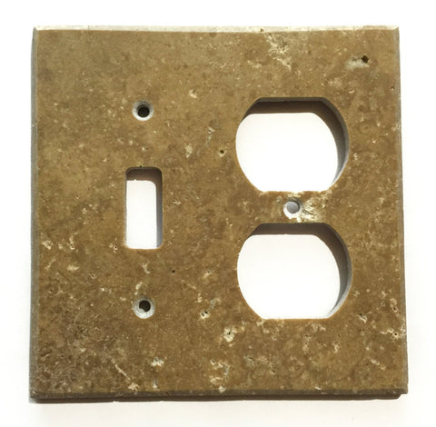 Noce Travertine Toggle Duplex Switch Wall Plate / Switch Plate / Cover - Honed - American Tile Depot - Commercial and Residential (Interior & Exterior), Indoor, Outdoor, Shower, Backsplash, Bathroom, Kitchen, Deck & Patio, Decorative, Floor, Wall, Ceiling, Powder Room - 1