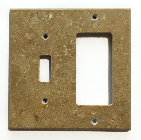 Noce Travertine Toggle Rocker Switch Wall Plate / Switch Plate / Cover - Honed - American Tile Depot - Commercial and Residential (Interior & Exterior), Indoor, Outdoor, Shower, Backsplash, Bathroom, Kitchen, Deck & Patio, Decorative, Floor, Wall, Ceiling, Powder Room - 1
