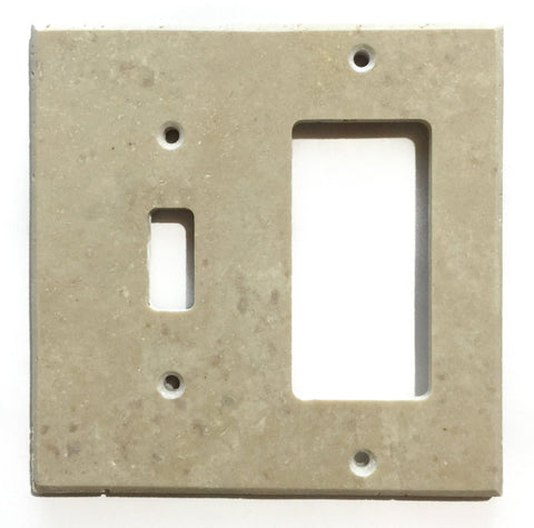 Ivory Travertine Toggle Rocker Switch Wall Plate / Switch Plate / Cover - Honed - American Tile Depot - Commercial and Residential (Interior & Exterior), Indoor, Outdoor, Shower, Backsplash, Bathroom, Kitchen, Deck & Patio, Decorative, Floor, Wall, Ceiling, Powder Room - 1