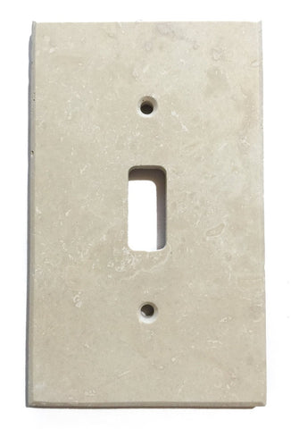 Ivory Travertine Single Toggle Switch Wall Plate / Switch Plate / Cover - Honed - American Tile Depot - Commercial and Residential (Interior & Exterior), Indoor, Outdoor, Shower, Backsplash, Bathroom, Kitchen, Deck & Patio, Decorative, Floor, Wall, Ceiling, Powder Room - 1